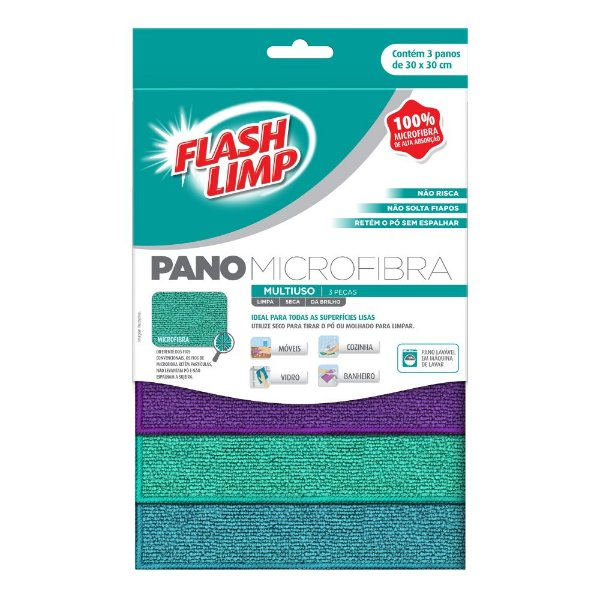 Kit De Panos Microfibra Multiuso - 3 Peças - Flash Limp