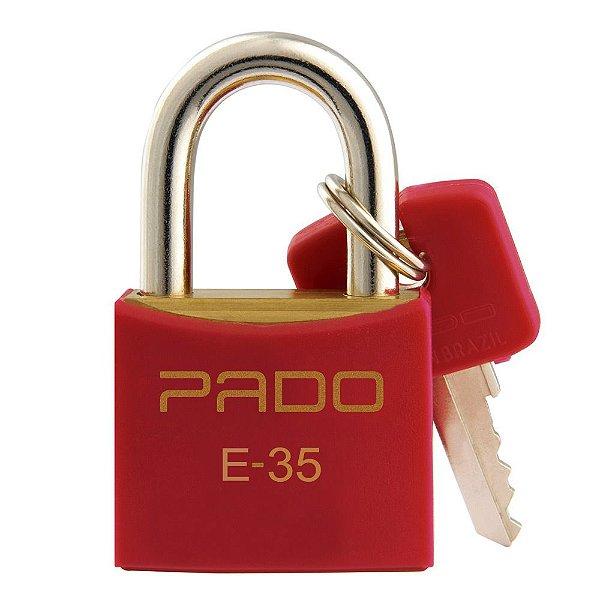 Cadeado com Chaves Colors - E 35mm - Vermelho - Pado