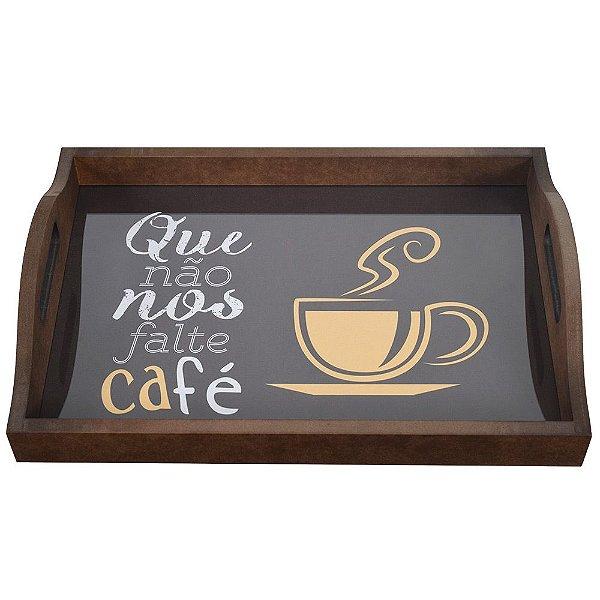 Bandeja Com Vidro - Que Não Nos Falte Café - Vikos