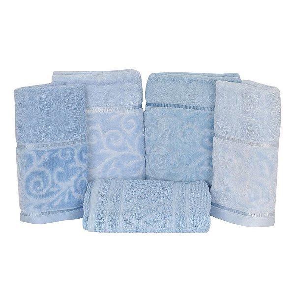 Jogo de Toalhas de Banho Unique Azul - 5 peças - Santista