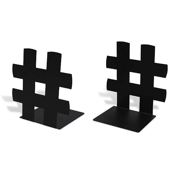 Aparador de Livros - 2 Peças - Hashtag Preto - Geguton