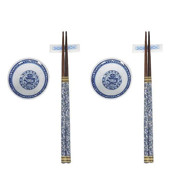 Conjunto Para Comida Japonesa 2 Pessoas - Azul - 6 Peças - BTC
