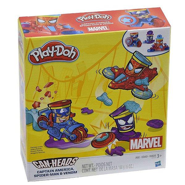 Play-Doh Capitão América, Homem Aranha e Venom - Marvel