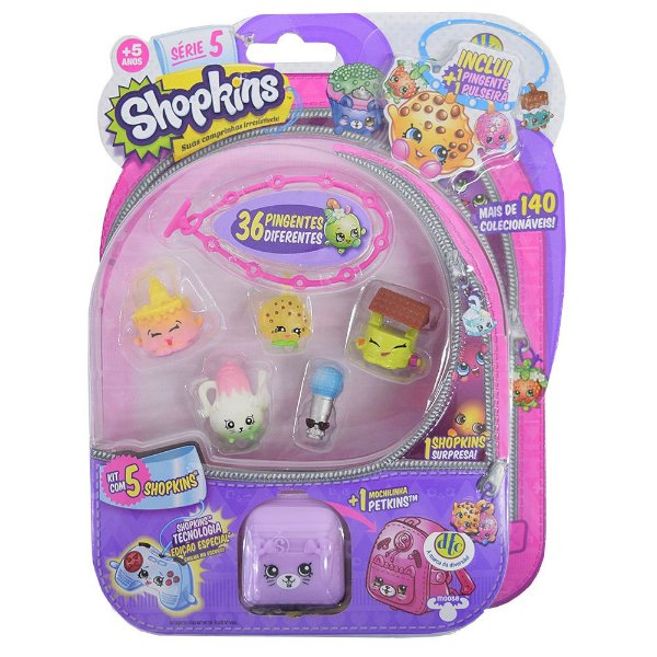 Shopkins Blister Kit 2 com 5 Personagens - Série 5 - DTC