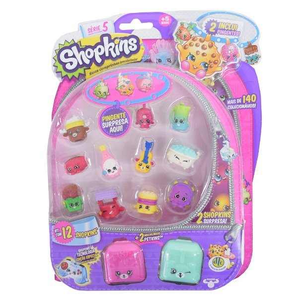 Shopkins Blister Kit 1 com 12 Personagens - Série 5 - DTC
