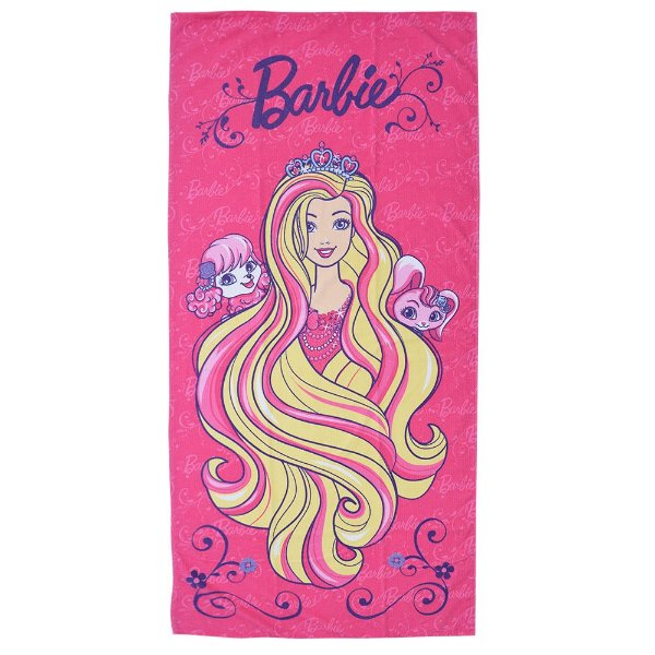 Toalha de Banho Aveludada - Barbie Reino Dos Penteados Mágicos - Lepper Kids