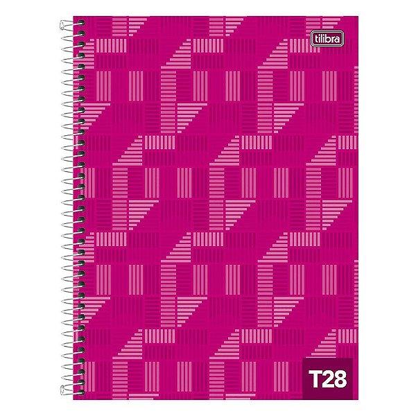 Caderno T28 Decorado - 1 Matéria - Pink - Tilibra