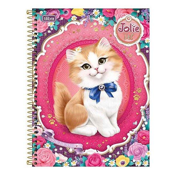 Caderno Jolie Pet - 1 Matéria - Gatinho Laço Azul - Tilibra