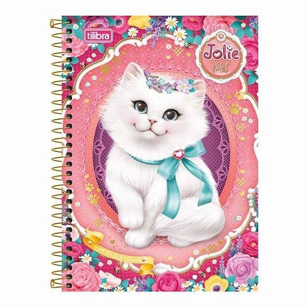 Caderno Jolie Pet - 1 Matéria - Gatinho Laço Verde - Tilibra