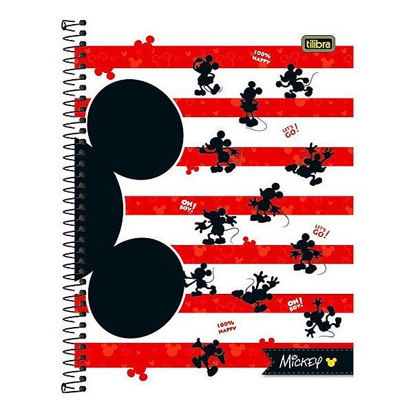 Caderno Mickey Mouse - Branco e Vermelho - 1 Matéria - Tilibra