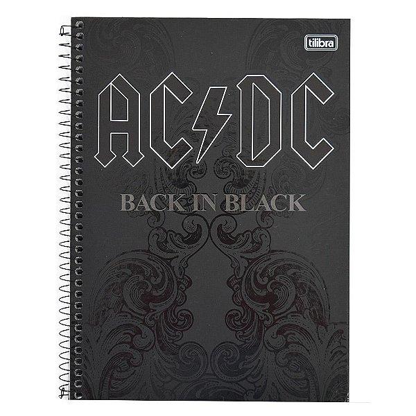 Caderno AC/DC Back In Black - 1 Matéria - Tilibra