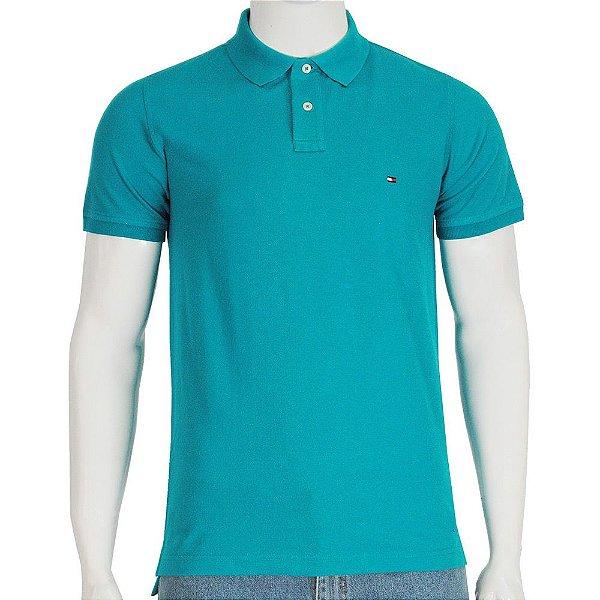 Camisa Polo Slim Fit - Azul Turquesa -Tommy Hilfiger