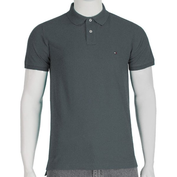 Camisa Polo Slim Fit - Grafite - Tommy Hilfiger