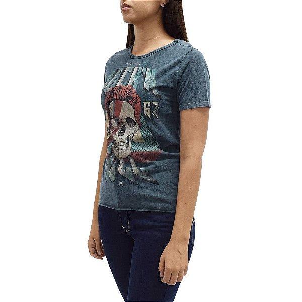 Camiseta Feminina Estonada Caveira Rock'n Roll - Beagle