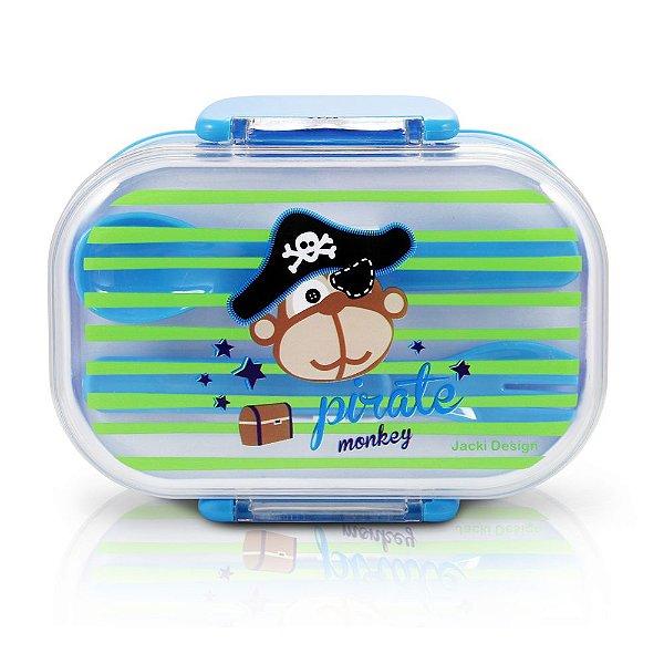 Marmita Infantil - 2 Divisórias - Azul - Pirate Monkey - Jacki Design