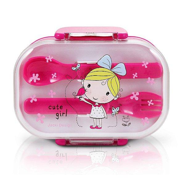 Marmita Infantil - 2 Divisórias - Pink - Loira - Jacki Design