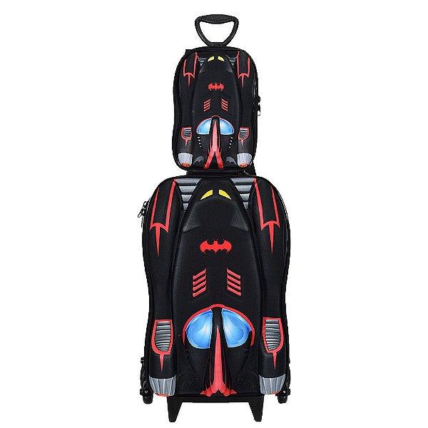 Kit Mochila Infantil + Lancheira 3D - Batmóvel Vermelho - Diplomata