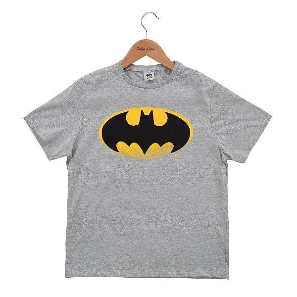 Camiseta Infantil Masculina Batman Morcego - Cinza - Fakini