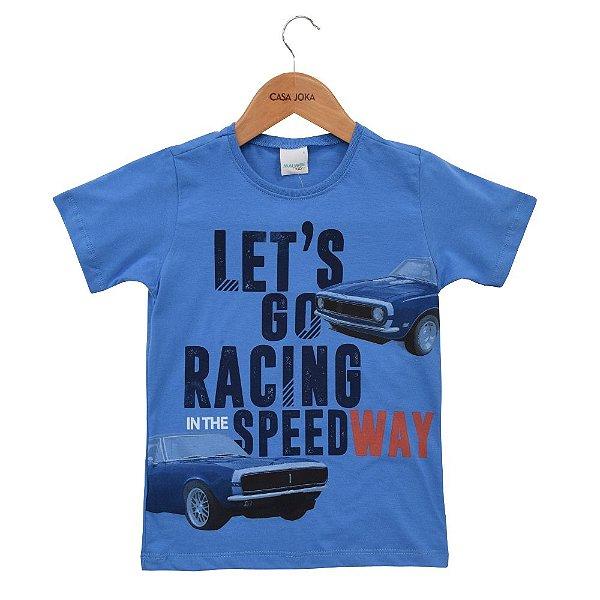 Camiseta Infantil Masculina Let's Go Racing - Azul - Malwee