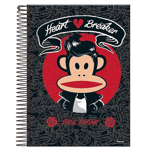 Caderno Paul Frank - Heart Breaker - Preto - 10 Matérias - Foroni