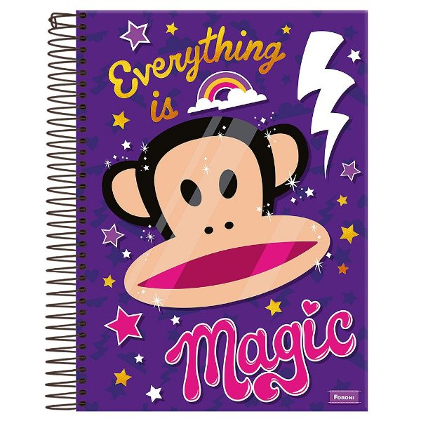 Caderno Paul Frank - Everything Is Magic - Roxo - 10 Matérias - Foroni