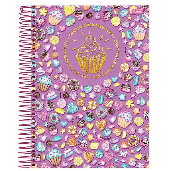 Caderno Cupcake - Lilás - 1 Matéria - Foroni