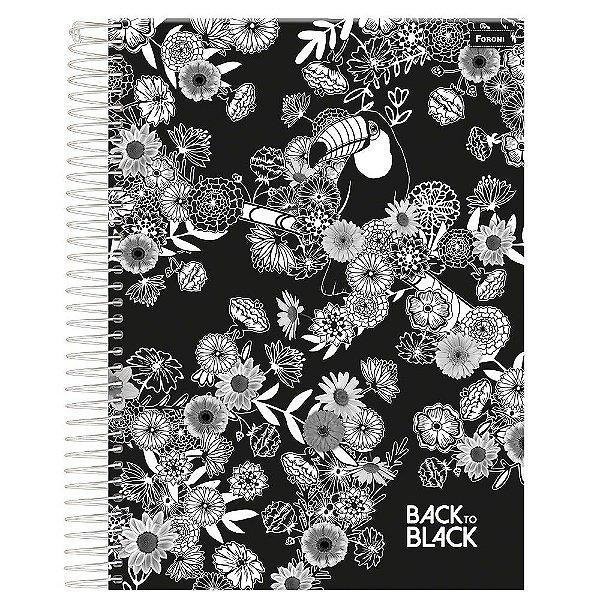Caderno Back To Black - Flores - 10 Matérias - Foroni