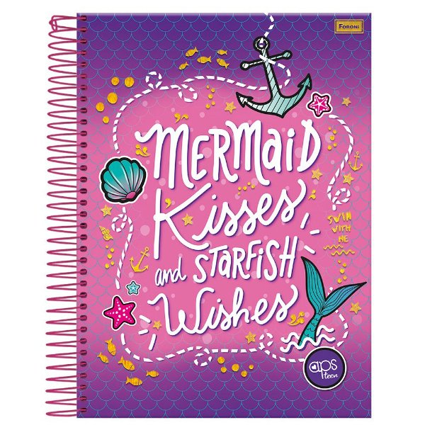 Caderno Amigas Teen - Mermaid Kisses - 1 Matéria - Foroni