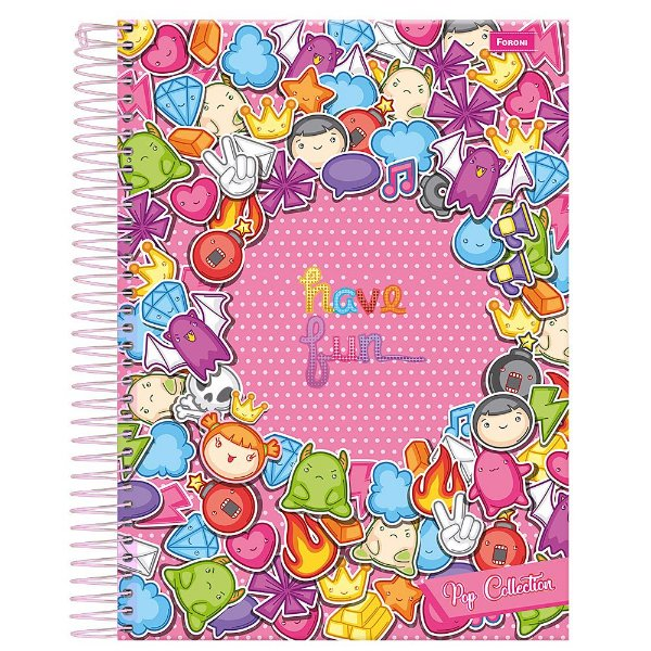 Caderno Pop Collection - Have Fun - Rosa - 10 Matérias - Foroni