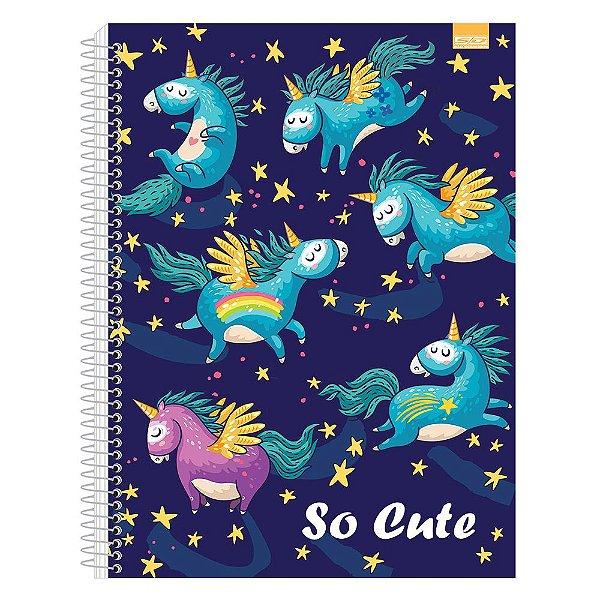 Caderno So Cute - Unicórnios - 10 Matérias - São Domingos