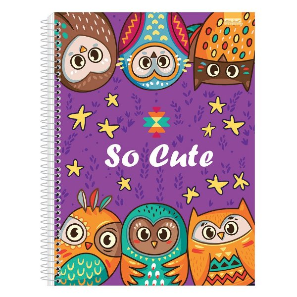 Caderno So Cute - Corujas Roxo - 10 Matérias - São Domingos