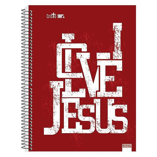 Caderno Cristo 100% - I Love Jesus - 15 Matérias