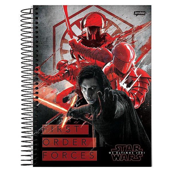 Caderno Star Wars - Kylo Ren e Soldados - 1 Matéria - Jandaia
