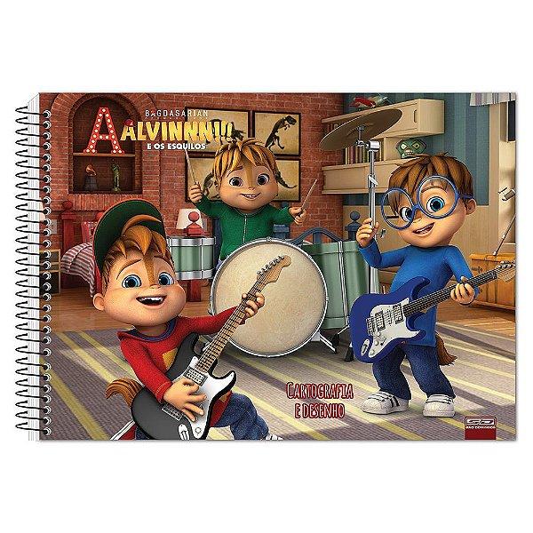 Caderno de Desenho - Alvin e Os Esquilos - Banda - 60 Folhas