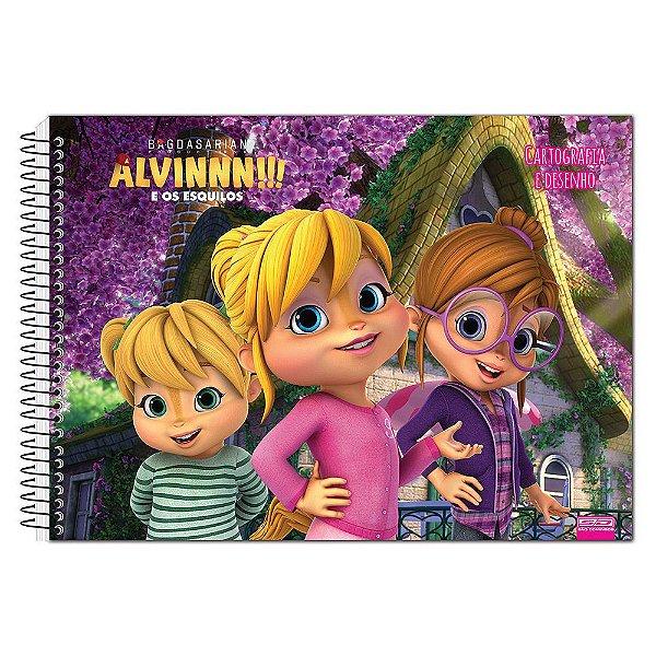 Caderno de Desenho - Alvin e Os Esquilos - Esquiletes - 60 Folhas