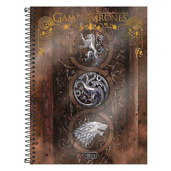 Caderno Game Of Thrones - Casas Madeira - 10 matérias - Tilibra
