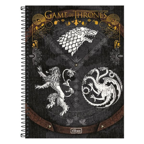 Caderno Game Of Thrones - Casas - Cinza - 10 matérias - Tilibra