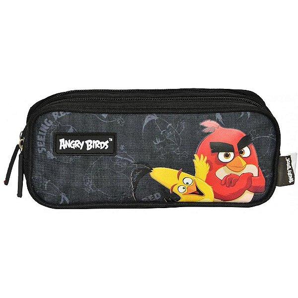 Estojo Preto Angry Birds- 2 divisórias - Santino