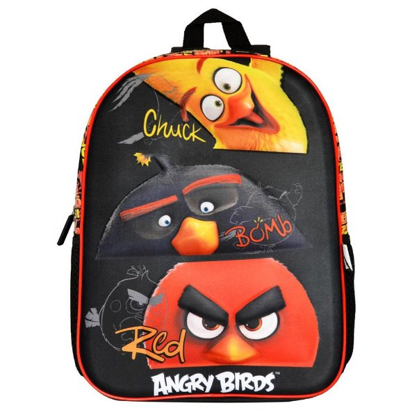 Mochila Angry Birds Em Relevo - Preta - Santino
