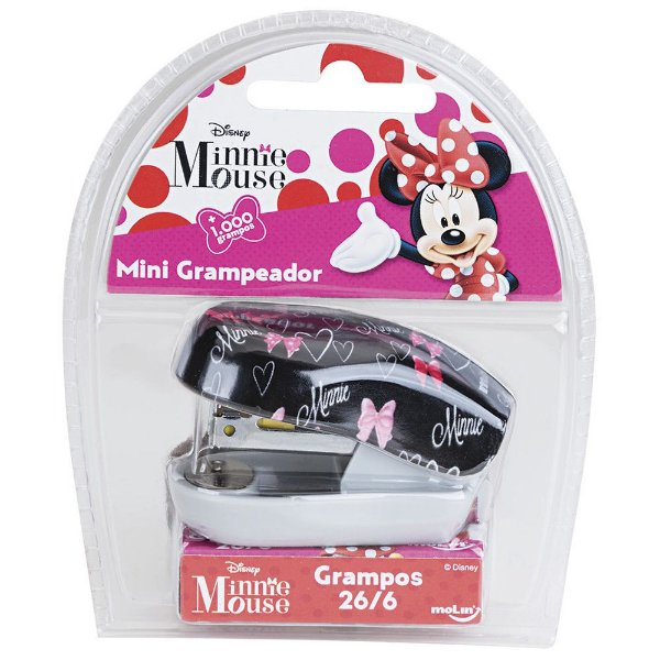 Mini Grampeador Minnie Mouse Com 1.000 Grampos - Molin