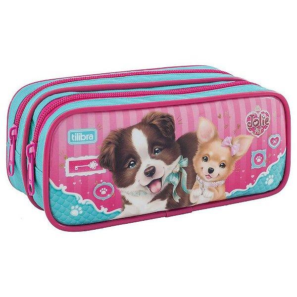 Estojo Jolie Pet Cães - 2 Divisórias - Tilibra
