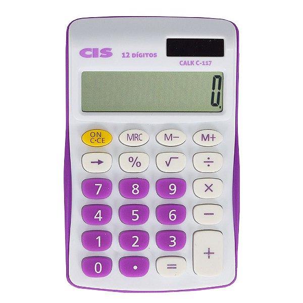 Calculadora De Mesa C-117 - Branca e Roxa - 12 Dígitos - Cis