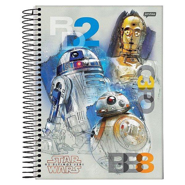Caderno Star Wars Os Últimos Jedi - R2D2, C3PO e BB8 - 10 Matérias