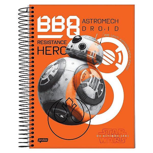 Caderno Star Wars Os Últimos Jedi - BB8 - 10 Matérias - Jandaia