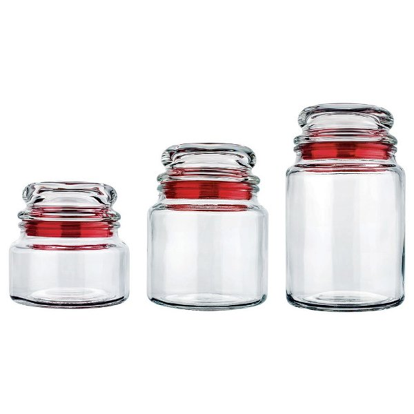 Conjunto de Potes Multiuso - 3 Peças - Vermelho - Euro Home