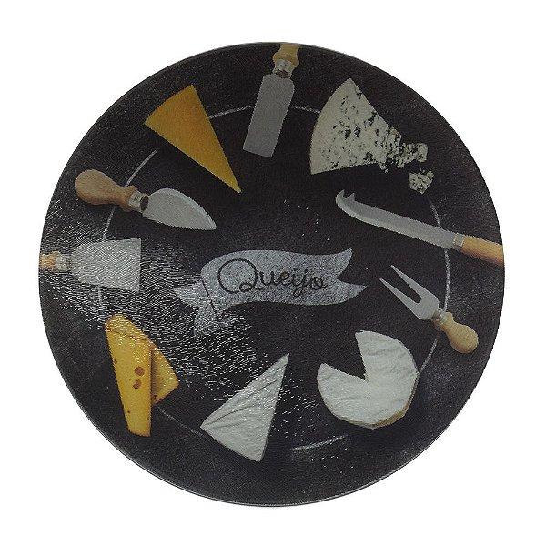 Tábua de Vidro Para Queijo Black Board 25cm - Euro Desig