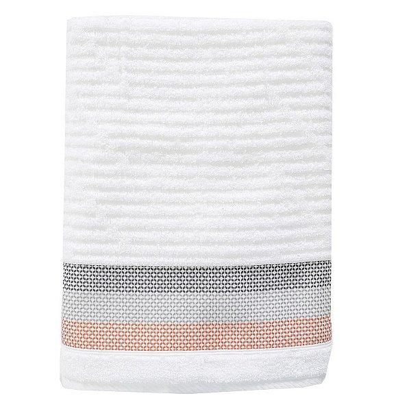 Toalha de Banho Le Bain Detroit - Branco e Laranja - Artex