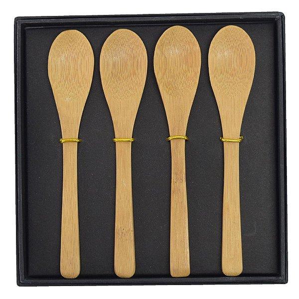 Kit de Colheres em Bambu Com Estojo - 5 Peças - Tyft