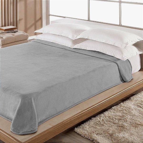 Cobertor Casal Microfibra Kyör Raschel Liso - Cinza - Jolitex