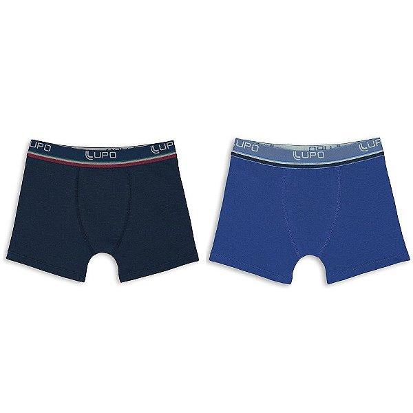 Kit de Cueca Infantil Boxer - Marinho e Azul - 2 Peças - Lupo